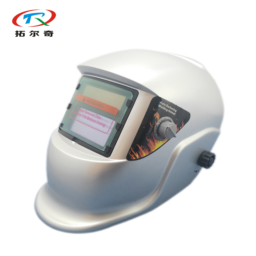 Free Shipping Silver Solar Powered Lithium Battery Auto Darkening Welding Helmet Trq-hs02 With 2200de Tools