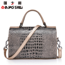 Hot Sale European Fashion Crocodile Pattern Genuine Leather Handbags Wholesale Head Layer Cowhide Boston Bags