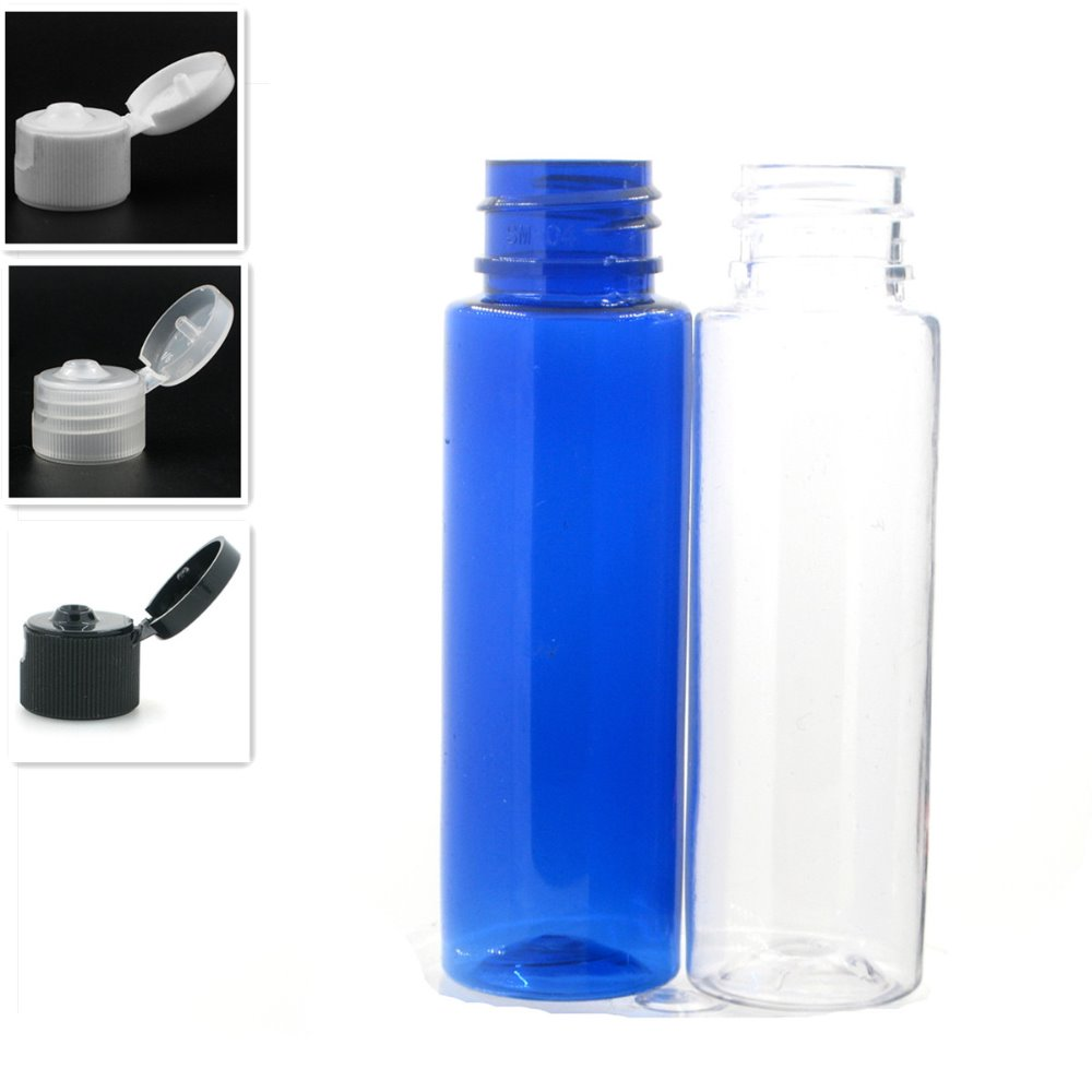 30ml Empty Clear/blue Cylinder Plastic Bottles  Pet Bottle With White/black/transparent Flip-top Cap, X 10