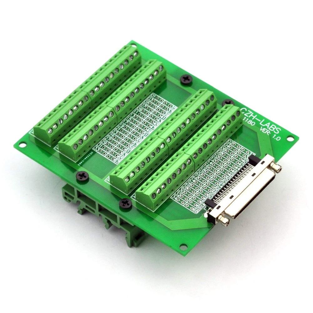 Electronics-Salon DIN Rail Mount 68-Pin VHDCI DSUB SCSI-5 Screw Terminal Block Breakout Board.