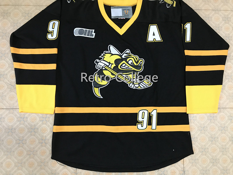 SARNIA STING #91 Steven Stamkos Black Ice Hockey Jersey Mens Embroidery Stitched Customize any number and name Jerseys personalized custom sweater custom any name any number hockey jerseys all stitched logos ice hockey jersey hoodies sweatshirtspe