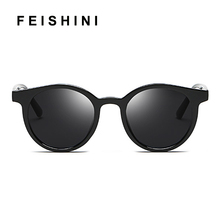 FEISHINI Trendy Plastic Oval Sunglasses Women Polarized Driving Small Fashion UV Protector Korea Glasses Men Round Tiny Mirror