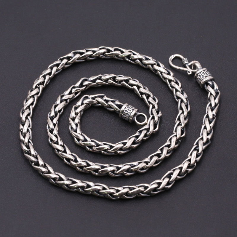 Starfield S925 Sterling Silver Retro Thai Silver Punk Style Custom Made Hollow Domineering Rough Necklace Men Ande Women punk style pure color hollow out ring for women