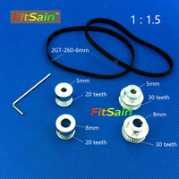 FitSain 2GT 20 30 Teeth Aluminum Alloy Pulley 1 1 5 Center Hole 5mm 8mm Reduction