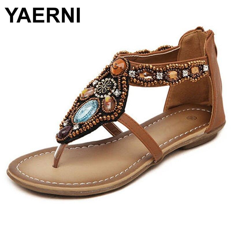 YAERNI   Free Shipping 2018 Bohemian Sandals Flat With Sandals Female Flat Student Sandals Female Summer Women Shoes