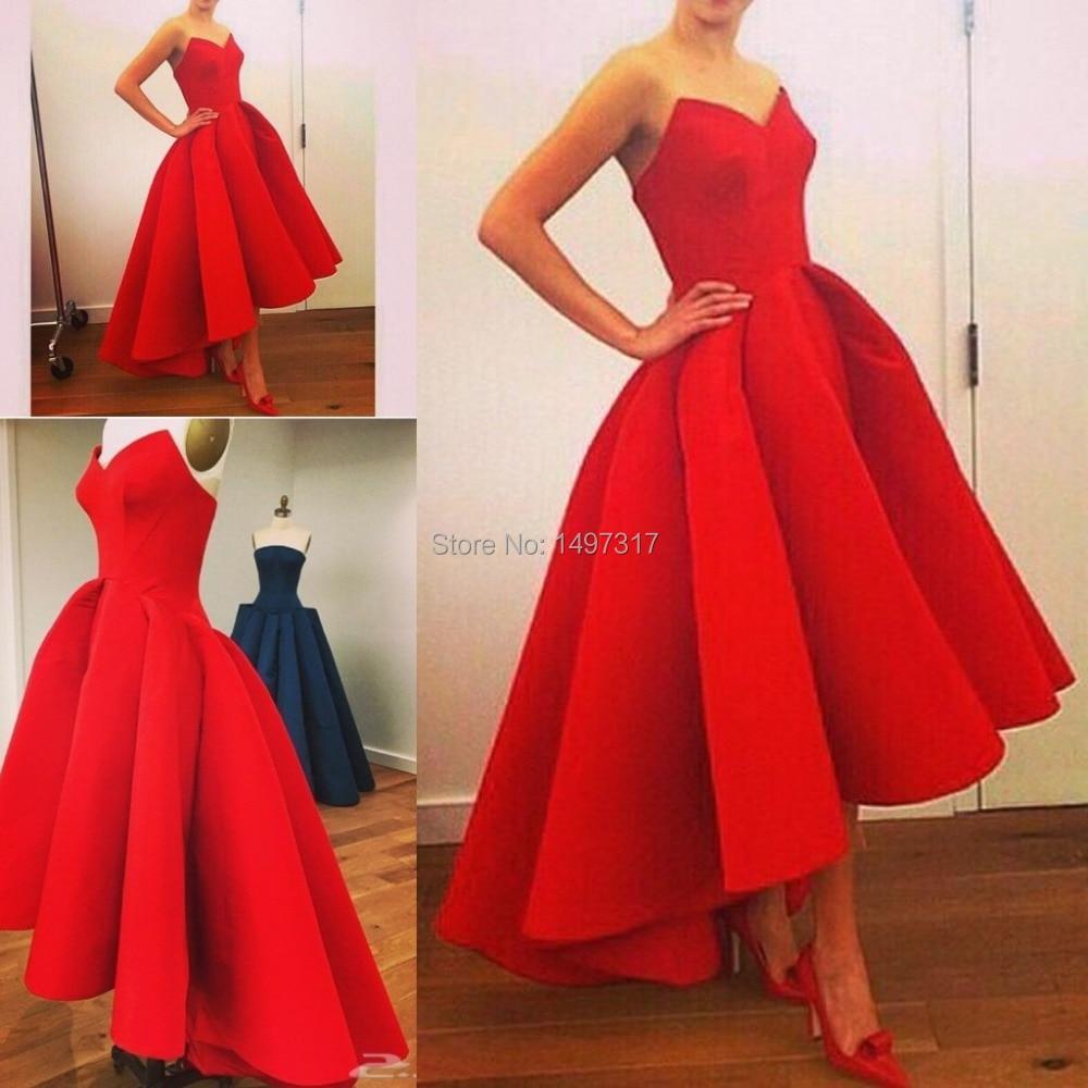 Vestidos новая линия пышные атласные горячие красные Hi Lo летние Мириам Фарес селебрити платье для вечеринки великолепные