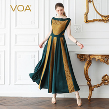 VOA Heavy Silk Jacquard Party Pleated Dress Women Maxi Long Dresses High Waist Tunic Slim Vintage Slash Neck Elegant Summer A756
