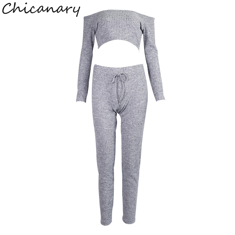 959ea15eba7 Chicanary Off Shoulder Ribbed Sexy Two Piece Set Women Fall Long Sleeve  Striped Crop Top and Set Pants Set Casual Tracksuit-in Women's Sets from  Women's ...
