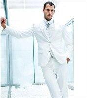 Custom Made 2018 Groom Tuxedos White Groomsmen Peak Lapel Best Man Suit/Bridegroom/Wedding Dinner Suits (Jacket+Pants+Vest)