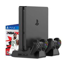 цена на PS4 Accessories PS4/PS4 Slim/PS4 Pro Vertical Console Cooling Fan PS4 Controller Charger Game Disk Storage Stand Tower