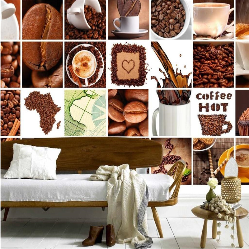 3D wall wallpaper living room Coffee beans pattern Music Restaurant Cafe Bar KTV covering  murals paper home decor