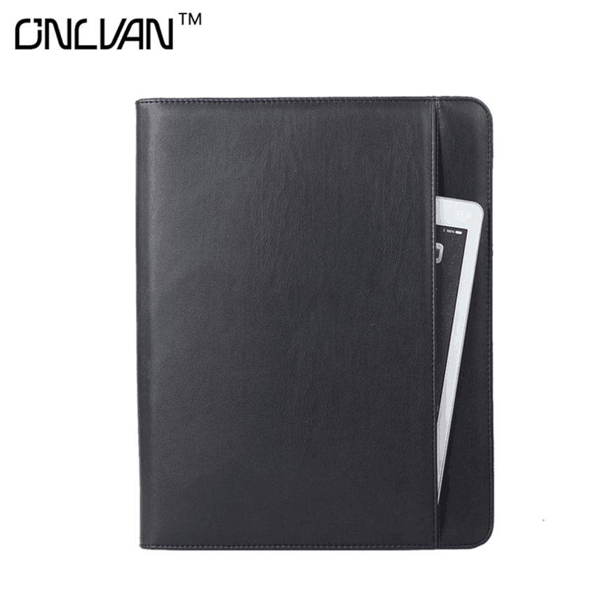 PU Leather Manager Notebook with 6000 mAh Power Bank Portfolio Multifunction Document Holder Office Accessories Business Supply