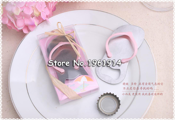 30x Beach Wedding Favor Souvenir Blue Sandal Flip-flop Slipper Bottle Opener in Box Wedding Gift Giveaway for Guest