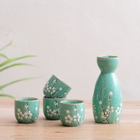 Japanese ceramic wine sets style Chinese clear wine Liquor Spirits Glass Household temperature pot cup statues Home