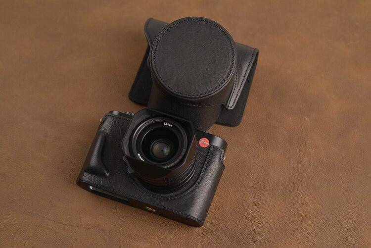 AYdgcam marque fait à la main en cuir véritable étui pour appareil photo peau pour Leica Q typ 116 conception de batterie ouverte-in Sacs pour appareil photo from Electronique    3