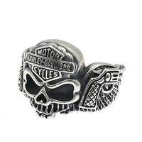 S925 sterling silver jewelry skull ring punk locomotive wing double gun ring