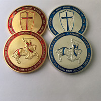 10 pcs The brand new Cross badgeg Saint  George silver 24K real gold plated 40 mm souvenir coin