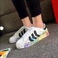 Superstar Zapatos Verano de Las Mujeres de Shell Cabeza de Talla grande Clásico Pareja Zapatos Estudiantiles 36-44 Superestrella de Inyección de Tinta Al Aire Libre Chaussures