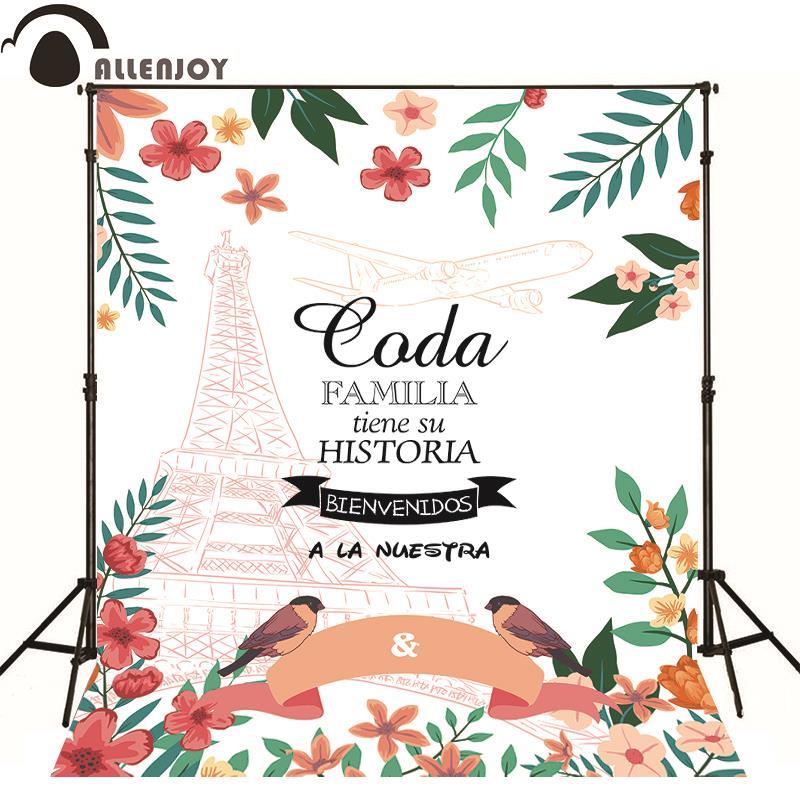 Fondo fotográfico Allenjoy Torre Eiffel flor follaje aves diseño - Cámara y foto