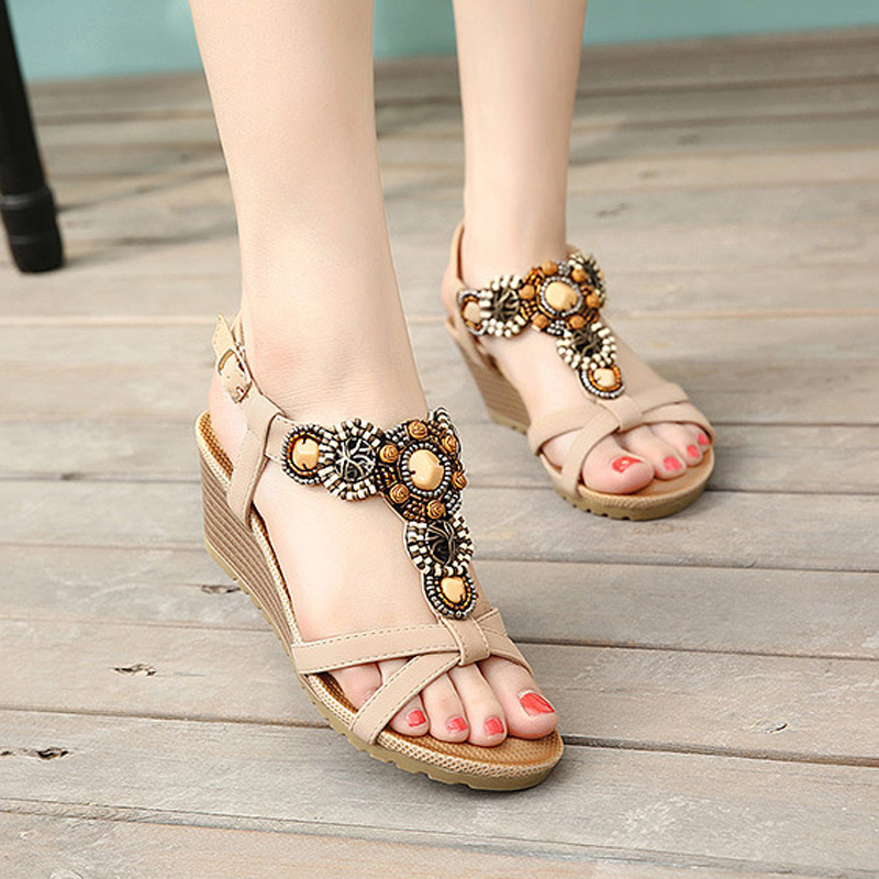 2017 Summer Beach Sandals Bohemia Wedge Gladiator Casual Flip-Flops Sexy Fashion Girls Shoes Women Platform Sandals ABT536 fashion gladiator sandals flip flops fisherman shoes woman platform wedges summer women shoes casual sandals ankle strap 910741