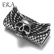 Stainless Steel Punk Wing Skull Slider Beads 12*6mm Hole Slide Charms for Men Leather Bracelet Jewelry Making DIY Accessories
