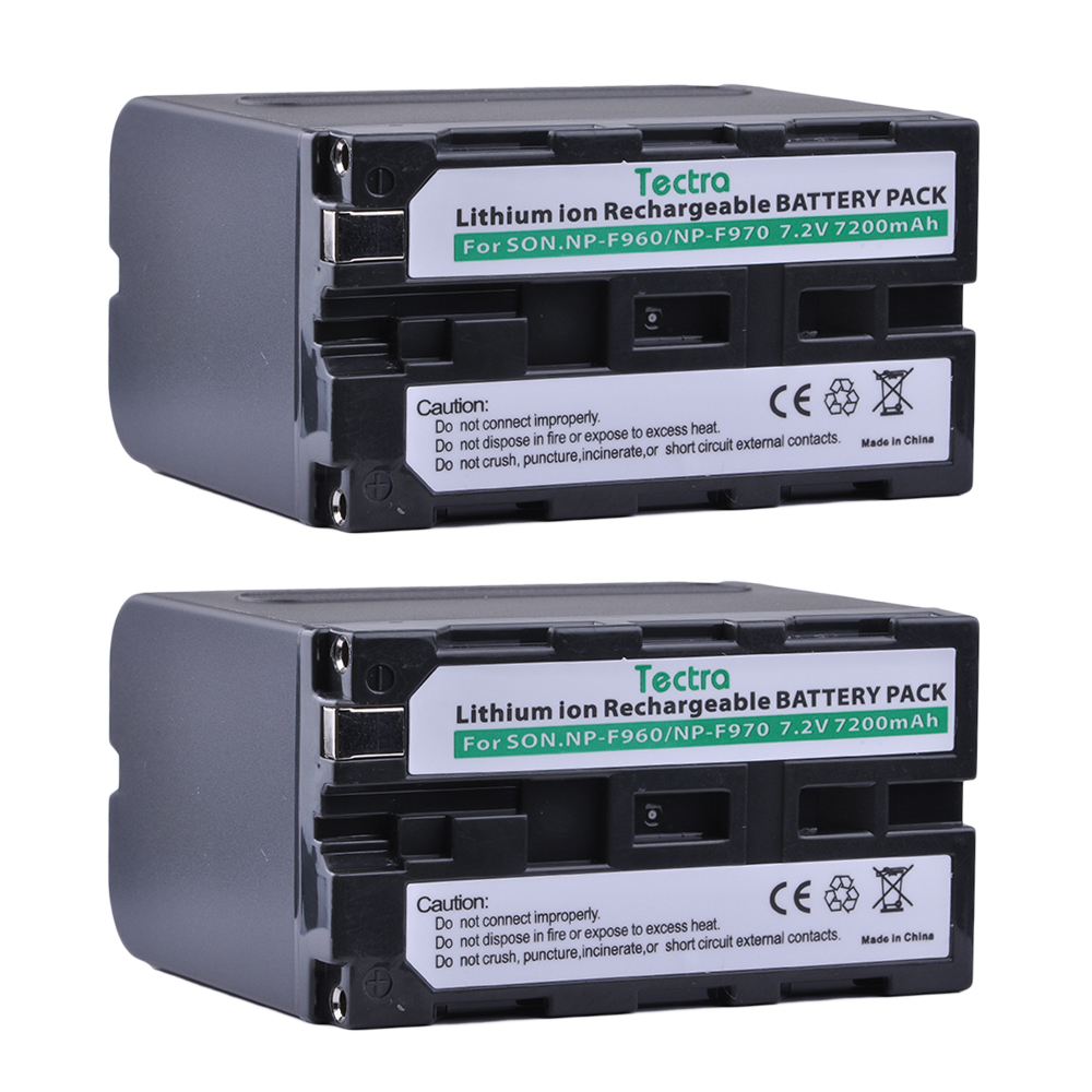 Tectra NP-F970 NP-F960 2PCS 7.2V/7200mAh High Capacity camera battery for Sony NP-F550 F550 NP-F770 NP-F750 F960 F970 4pc 7200mah np f960 np f970 f970 battery packs lcd ultra fast dual charger plug kits for sony np f550 np f770 np f750 f960 f970