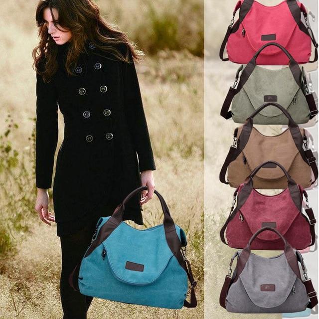 cbd28fe758f5e 2019 Large Pocket Casual Tote Women's Handbag Shoulder Crossbody Handbags  Canvas Leather Capacity Besigner Bags For Women Tarvel-in Travel Bags from  Luggage ...
