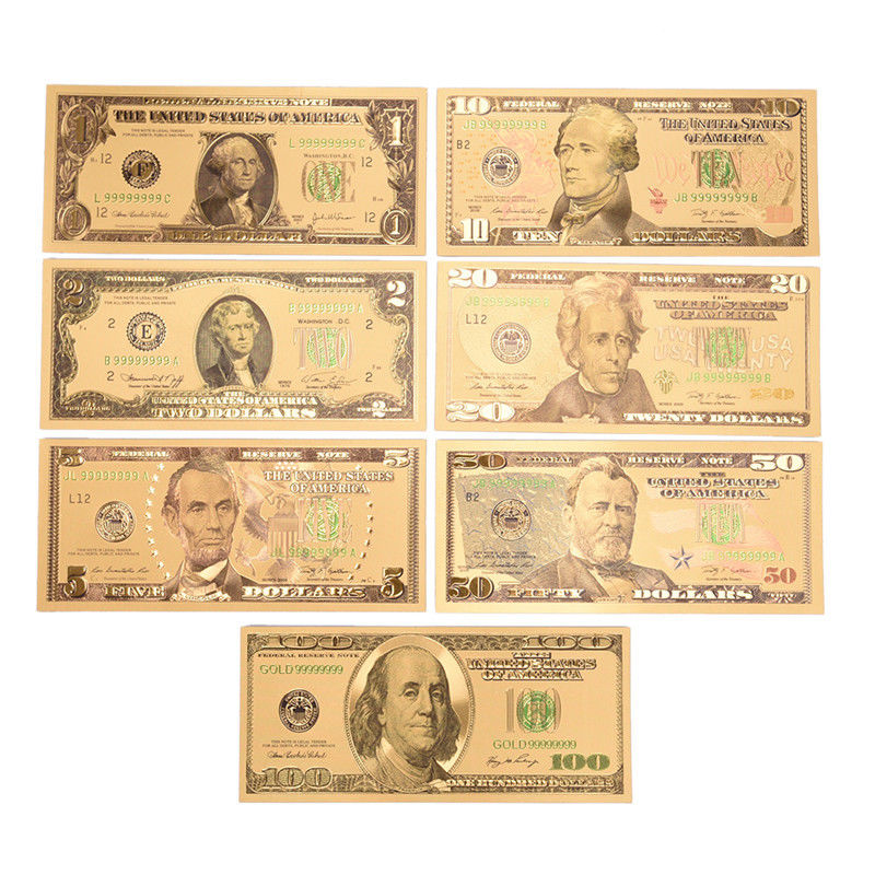 Gold Decorations American Gold Banknote 1/2/5/10/20/50/<font><b>100</b></font> <font><b>Dollar</b></font> Colorful Gold Foil <font><b>Bill</b></font> Note Fashion Metal Crafts image