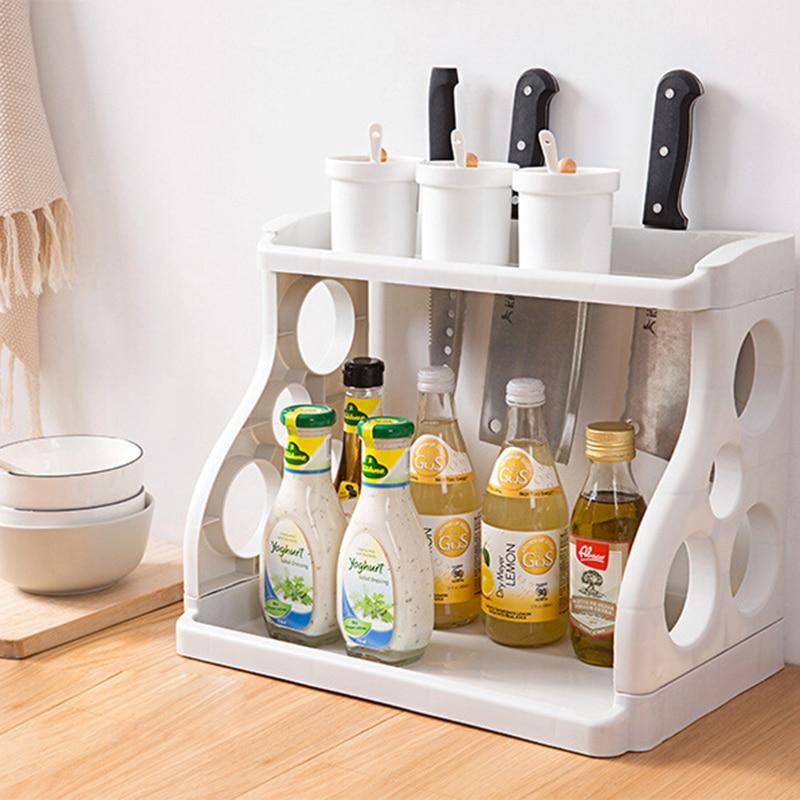 38CM Adjustable Spice Rack Double Layer Kitchen Organizer Cooking Tool Seasoning Storage Rack Seat Landing Pantry Organizer Gray