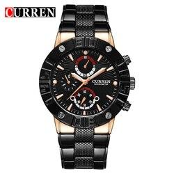 Curren relógios masculinos de luxo da marca superior relógios de pulso militar aço completo relógio esportivo à prova dwaterproof água relogio masculino 8006