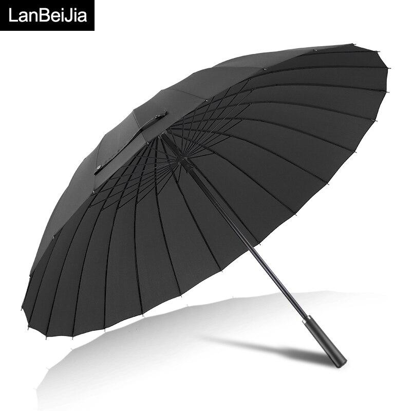 Paraguas grande para mujer, lluvia, 24 K, a prueba de viento, Paraguas para caminar, sombrillas de cuero para hombre, Sol de Golf, Paraguas coloridos, bastón para sombrilla