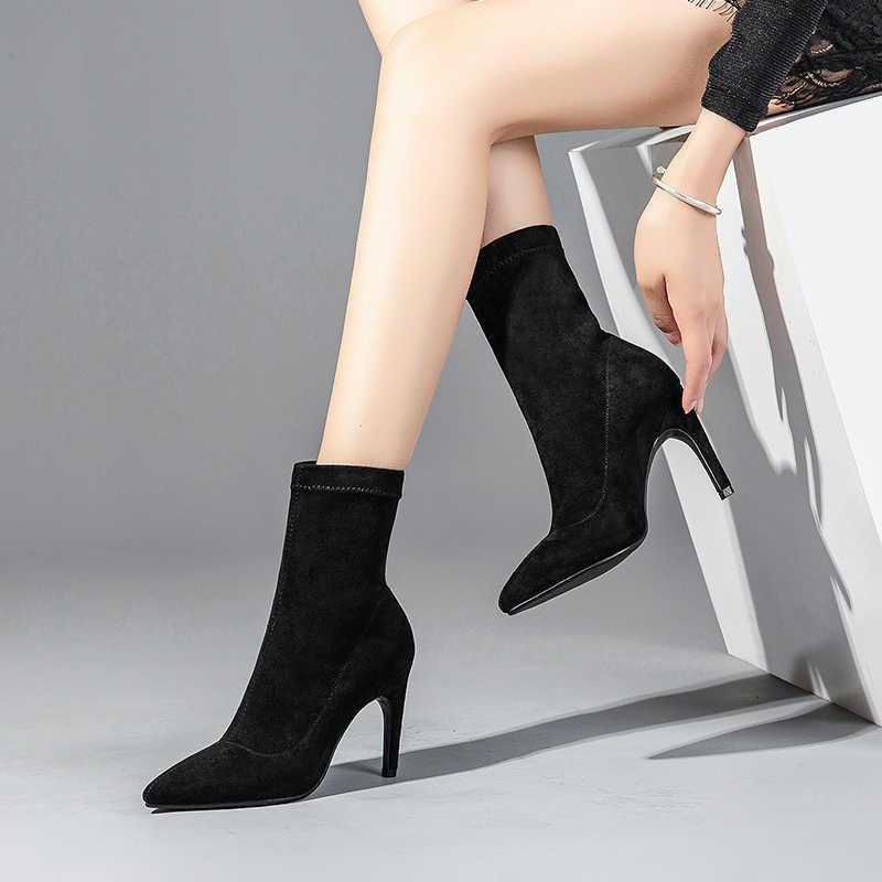 ISNOM Stretch Flock High Heels Frauen Stiefeletten Spitz Schuhe Mode Weibliche Boot Elastische Schuhe Frau 2018 Winter Neue
