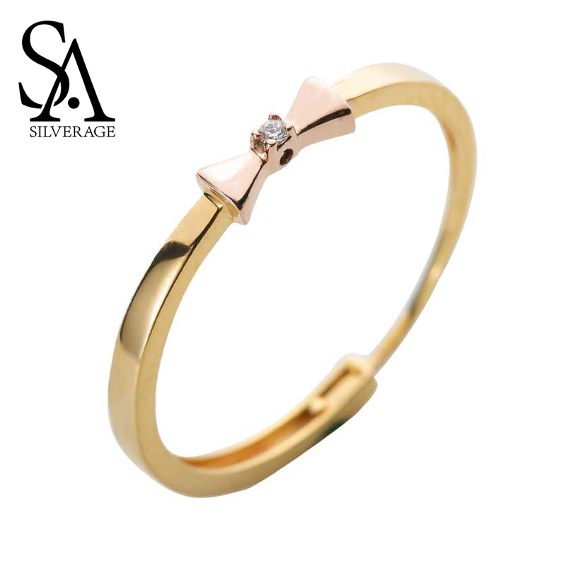 SA SILVERAGE 14K Rose Gold Bow-knot Wedding Rings for Women Fine Jewelry 2019 New Arrival 14k Ring
