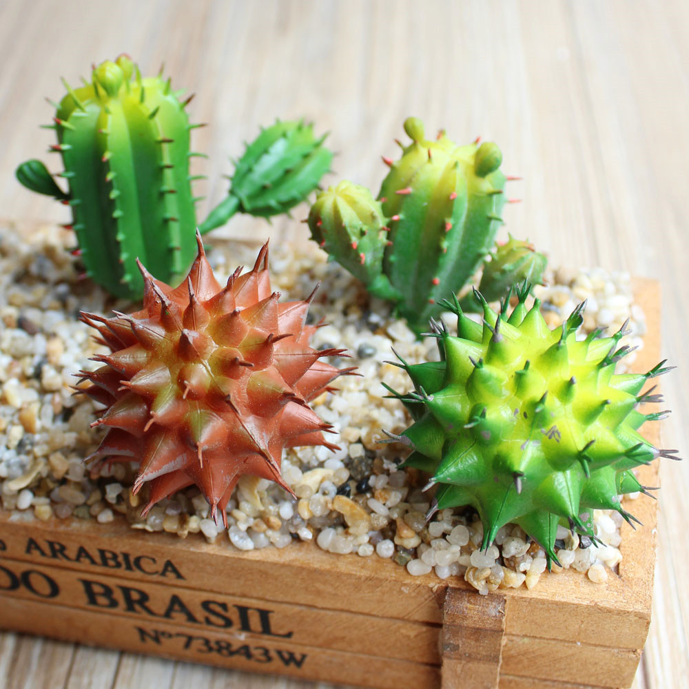 Green Plastic Artificial Cactus Plants Fake Succulents For Home Garden Decor Faux Mini Succulent Decorative 5 Inch Desert Cacti In Dried