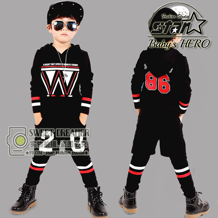 New Arrival Children Hip Hop Clothing Kids Sports Suit Cotton Long-sleeved Party Dancing Wear For Toddler Boys Spring Wear 2015 new arrive super league christmas outfit pajamas for boys kids children suit st 004