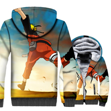 funny 3D Printed brand sweatshirts men thicken wool liner hooded 2018 winer new swag coats Japanese Anime Uzumaki Naruto jackets