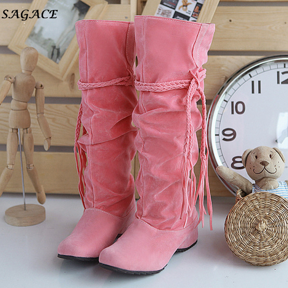 SAGACE 2018 Boots Women Heighten Platforms Thigh High Tessals Boots Motorcycle Shoes Woman botas mujer Ladies Winter Boots