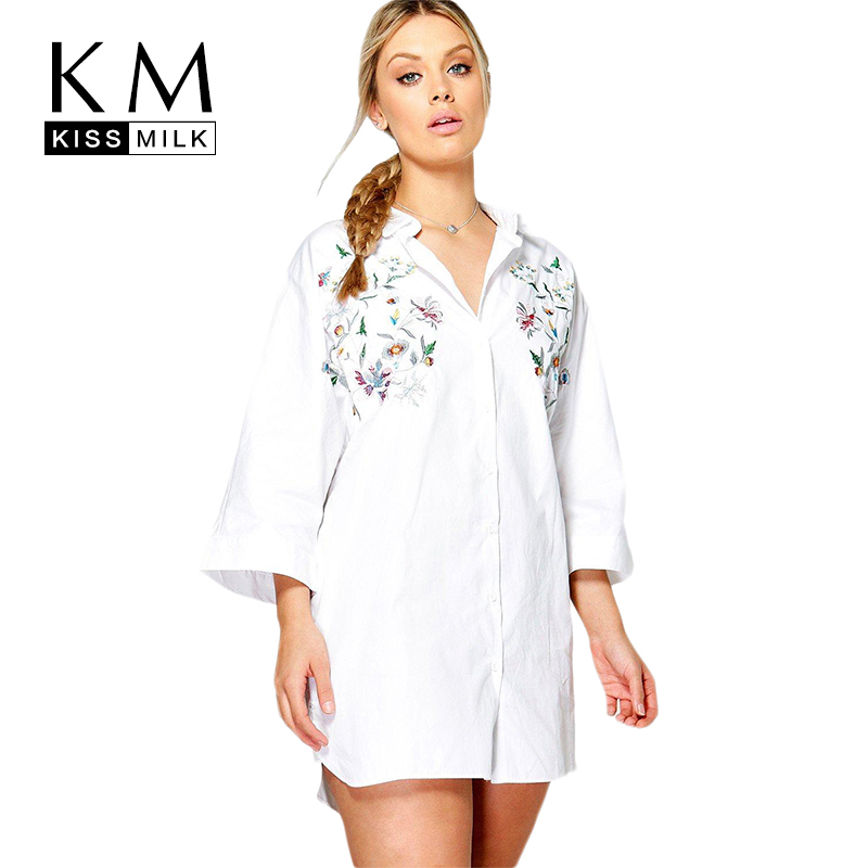 Kissmilk Women Plus Size Foral Embroidery Turn Down Collar Shirt Nine Quarter Sleeve Solid Basic Shirt Large Size Casual Shirt
