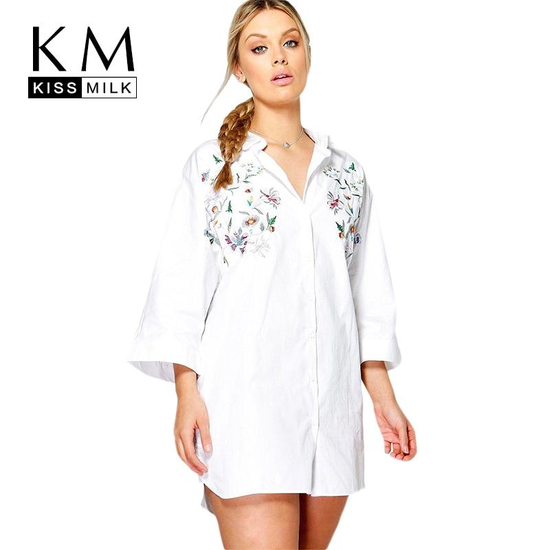 Kissmilk Women Plus Size Foral Embroidery Turn Down Collar Shirt Nine Quarter Sleeve Solid Basic Shirt Large Size Casual Shirt