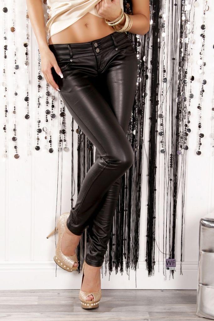 9c653cb98d3e1 Online Shop Fashion Women Black Faux Leather Stretch Skinny Pants Sexy Lady  Girls Slim Leggings Sexy low waist elastic leather trousers