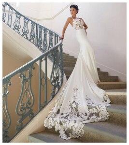 Image 2 - LORIE robe de mariée style sirène Vintage en dentelle, dos nu, robe de mariée à manches longues, 2019