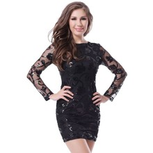 70205 Wholesale and Retail Mini Dress Long Sleeve and O-Neck Black Dress  Back Transparent Sexy Wear WomanSequin Bodycon Dress 6cd8daed9