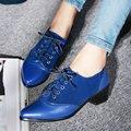 AIWEIYi Shoes Oxfords Sapatos Bomba dedo Apontado Sapatos de Saltos Baixos Quadrados Senhoras De Couro Macio Sapatos de Plataforma para As Mulheres