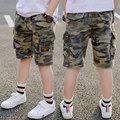 Летние камуфляжные шорты для мальчиков, хлопковые брюки, детская пляжная одежда, детские свободные спортивные пляжные шорты, спортивные шт...