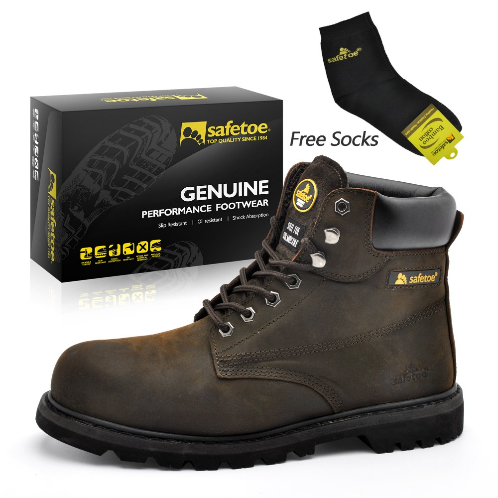 Safetoe/мужские рабочие ботинки; безопасная обувь; кроссовки со стальным носком; цвет коричневый; Экстра широкая подошва из коровьей кожи со ст... - 2