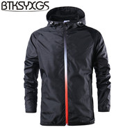 BTKSYXGS 2018 Lovers Spring Autumn Tide Fashion Men Casual Sports Hooded Jacket Coat Outerwear Men S