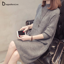 Autumn Winter Sweaters Dress 2019 Women Turtleneck Knitted Pullovers sweater High Quality Long Female vintage Thick Warm Dress autumn winter sweaters dress 2019 women turtleneck knitted pullovers sweater high quality long female vintage thick warm dress