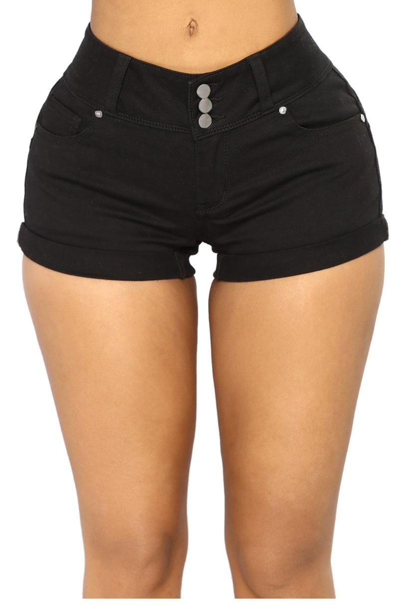 Black-Mid-Rise-Triple-Button-Stretch-Denim-Shorts-LC786077-2-1