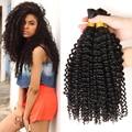 Braid Bulk Brazilian Kinky Curly Hair 4 Bundles Human Braiding Hair Bulk No Weft Deep Curly Brazilian Hair Ross Pretty Hair