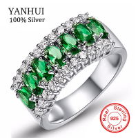 Best Selling CZ Emerald Engagement Wedding Rings For Women 100 Solid 925 Sterling Silver Ring Brand